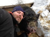 Picture of Mike and pig at Spirit Point