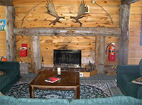 Picture of the fireplace in the recreation hall at Spirit Point